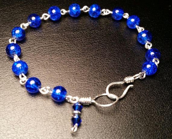 Blue Glass Bead Wire Linked Silver Bracelet