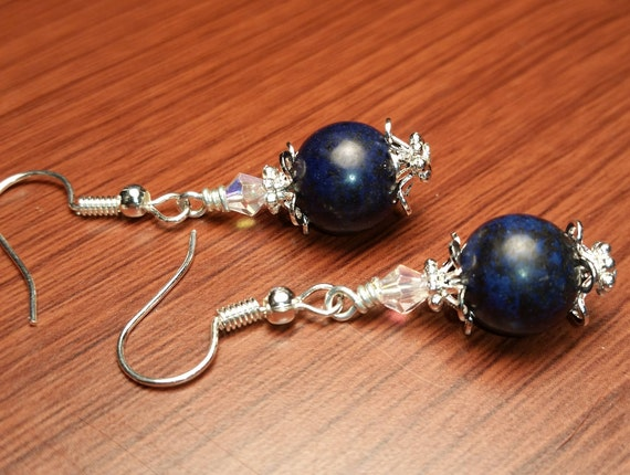 Navy Blue Denim Gemstone AB Crystal Silver Plated Capped Handmade Drop Dangle Wire Earrings
