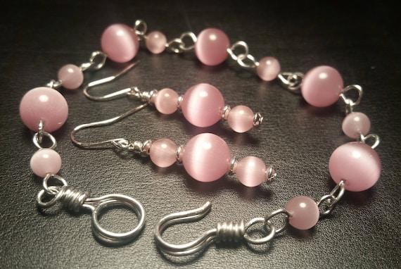 Pink Cat Eye Glass Bead Bracelet and Drop Dangle Pink Earrings