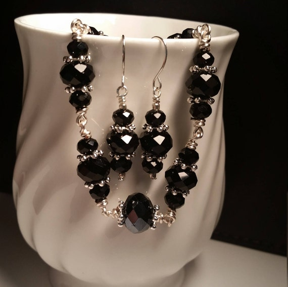 Black Glass Bead Silver Plated Wire Bracelet and Earring Set Drop Dangle Handmade