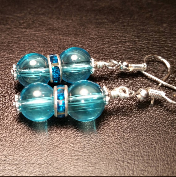 Light Blue Glass Silver Plated Wire Drop Dangle Handmade Earrings