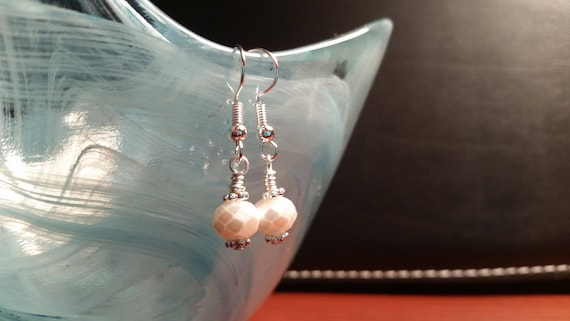 White Faux Pearl Faucted Drop Dangle Wire Earrings