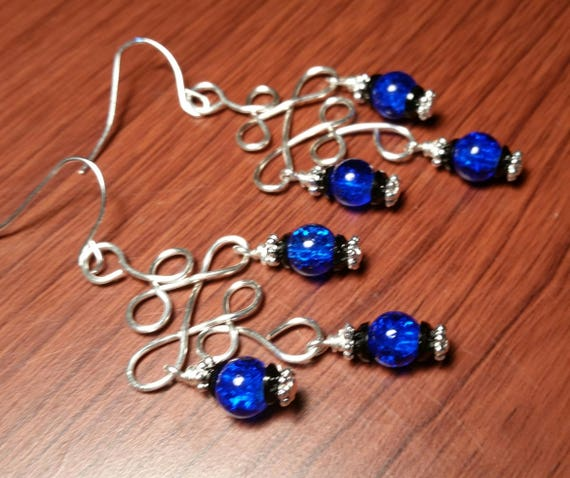 Blue and Black Crackle Glass Chandelier Drop Dangle Silver Earrings