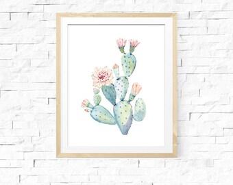 Cactus Wall Art, Cactus Flower Printable, Watercolor Cactus Wall Art,  Prickly Pear Cactus Wall Art, INSTANT DOWNLOAD