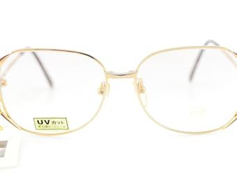Vintage 90s Technos Gold Aviator Titanium Glasses Frames Made in Japan NEW 56-15