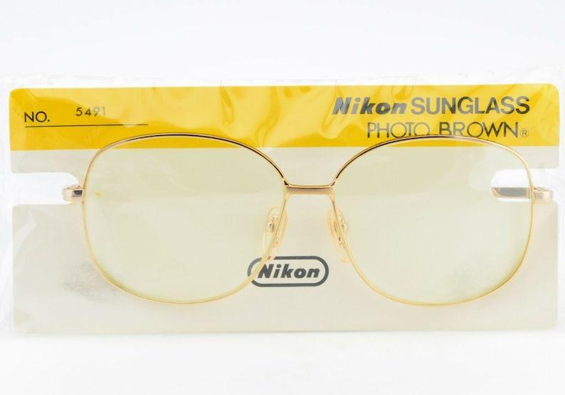 Vintage 70s Nikon Japan Glass Lens Gold Round Sunglasses NEW NOS 59-13