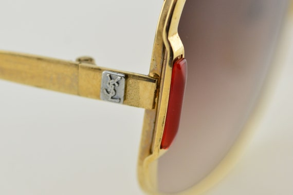 Luxury 70s YSL Gold Red Oversized Brown Gradient … - image 9