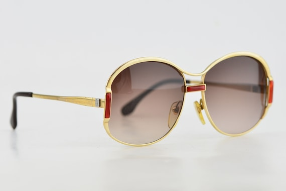 Luxury 70s YSL Gold Red Oversized Brown Gradient … - image 2