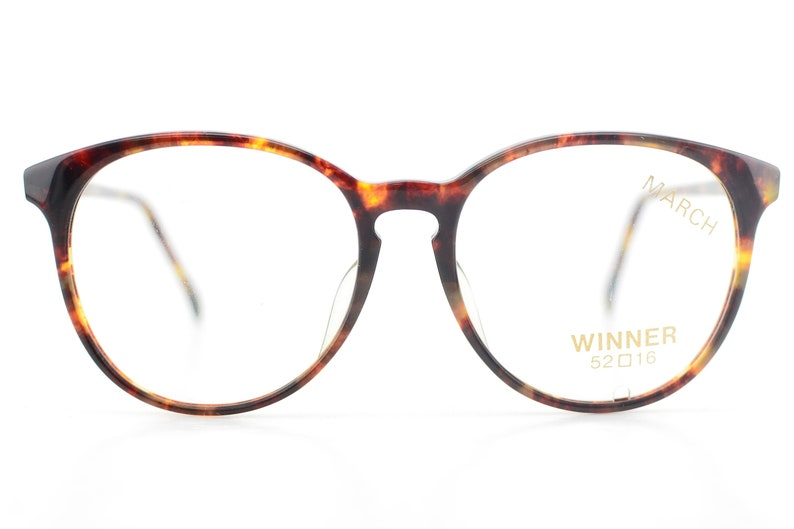 Vintage 1990s March Tortoiseshell Round Glasses Frames Made in Japan NEW 52-16