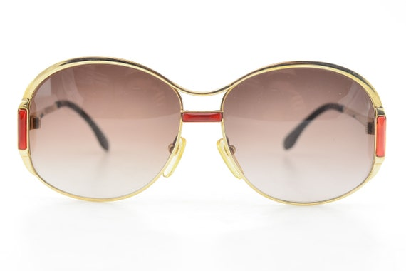 Luxury 70s YSL Gold Red Oversized Brown Gradient … - image 1
