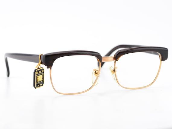 Vintage 70s Japan Gold Brown Browline Square Optic