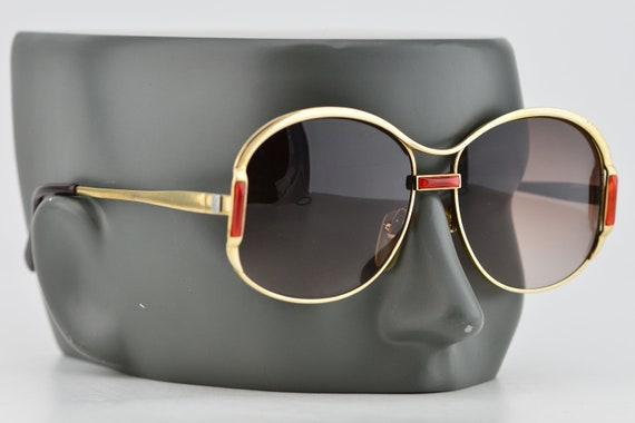 Luxury 70s YSL Gold Red Oversized Brown Gradient … - image 4