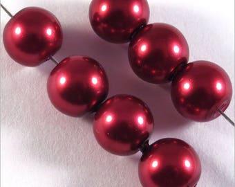 Burgundy Pearl round beads