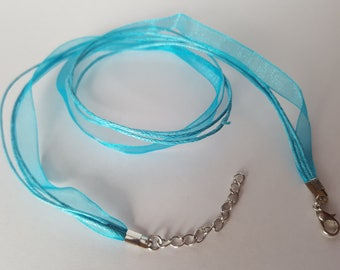 Cord mounted cord and organza Choker