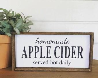 Homemade Apple Cider Framed Wood Sign