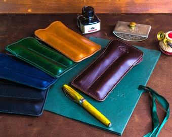 Double Fountain Pen Sleeve in Italian Leather.  Leather pen case, personalized gift, pen holder, Handstitched