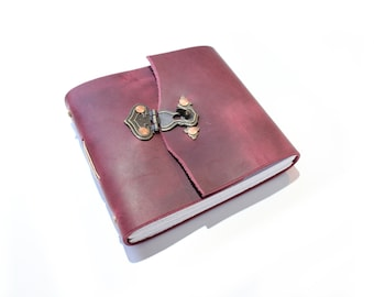 Square Journal - Handmade Leather Journal  -  Blank Sketchbook  -  Sketchbook  -  Blank Journal  -  Travel Journal  -  Crimson Leather Book