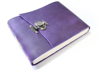 The Watercolour Journal - Handmade Leather Journal  -  Watercolour Sketchbook   -  Leather Book - Gift for Artist - Purple Journal - Blank