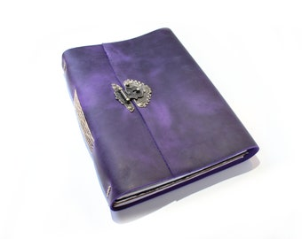 "The Artists Purple Journal - Handmade leather journal - Gift for Artist - Purple Sketchbook - Purple Leather Notebook - A4 - 9"" x 11.5"""