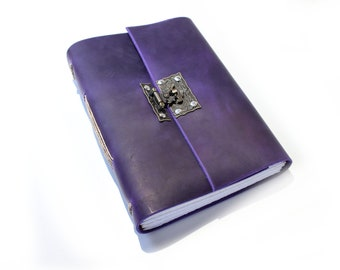 The A5 Lined and Blank Journal  - Sketchbook - Writers Journal - Leather Book - Gift for Artist - Purple leather