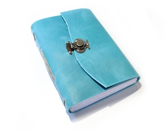 The A5 Lined and Blank Journal  - Sketchbook - Writers Journal - Leather Book - Gift for Artist - Blue leather