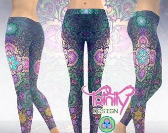 Psychedelic Leggings Women Hippie Pants Women Sacred Geometry Clothing Women Burning Man Clothing Women Music Festival Leggings Men Rave Edm