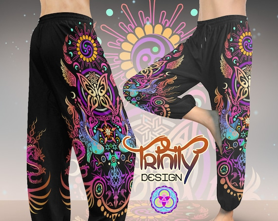 SACRED BUTTERFLY Harem Pants - Man Woman Unisex - Meditation Genie Pants
