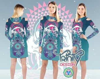 Rave Outfit Rave Clothing Psychedelic Dress Psy Trance Hippie Clothes Trippy Hippie Dress Gypsy Dress Music Festival Clothing EDM Clothing