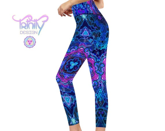 NEXUS CORE Super Premium Compression High Waisted Yoga Leggings, Sacred Geometry Festival Clothing, Zen Techno EDM Futuristic Cyberpunk Wear
