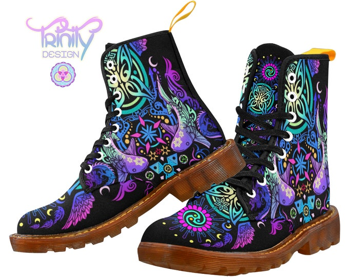Featured listing image: SACRED BUTTERFLY PURPLE Combat Boots Women