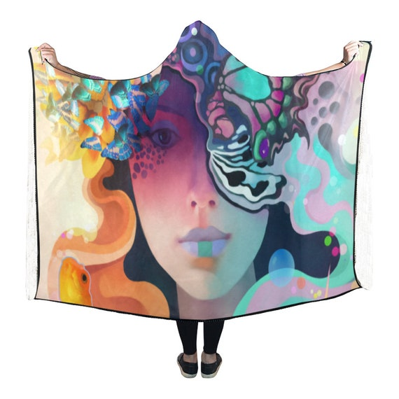 Man Psychedelic Hooded Blanket Cape Clothes Clothing Hooded Hippie Burning Festival Hooded Clothing Clothing Cloak EDM Cape Poncho Festival w4Hq4t
