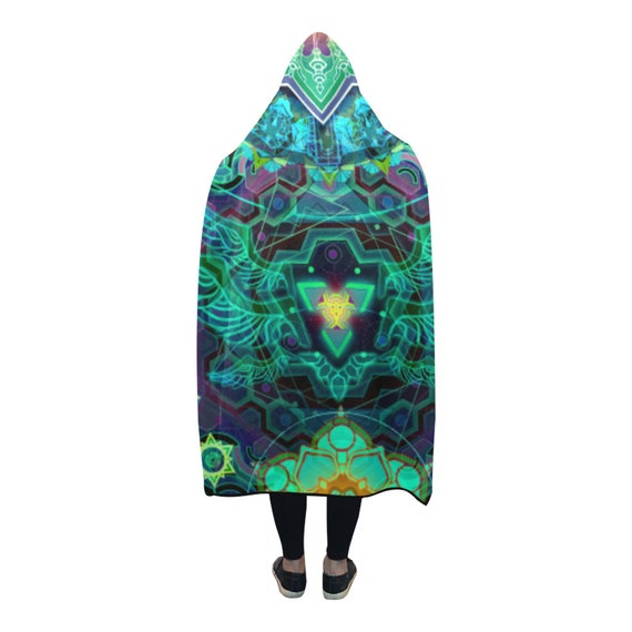 Psychedelic Clothes Cape Cloak Hooded Clothing Burning EDM Festival Clothing Clothing Blanket Poncho Hooded Hooded Hippie Psytrance Man OndqxwZdav