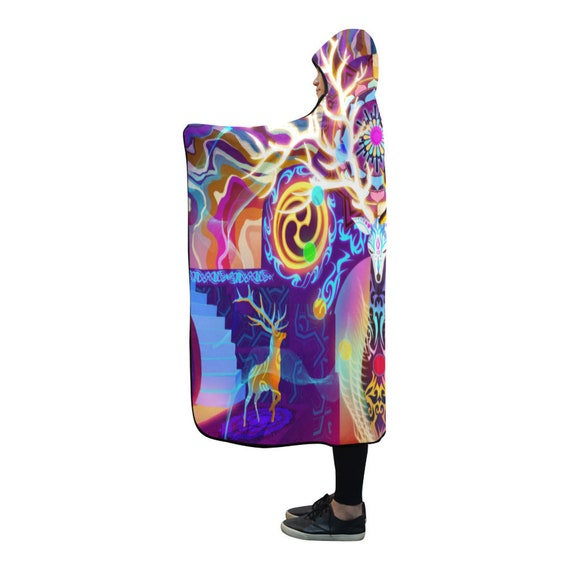 Psytrance Clothing Clothing Blanket EDM Psychedelic Cloak Burning Hooded Hooded Festival Man Poncho Hooded Hippie Clothes Cape Clothing rgXrntq7