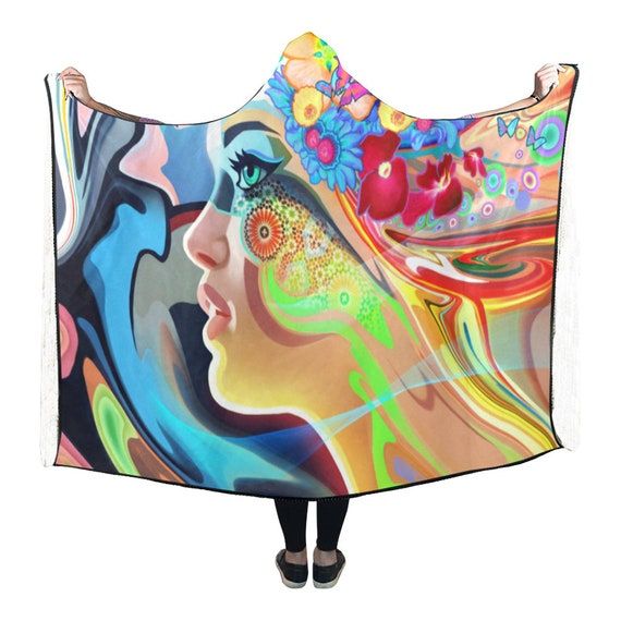 Psychedelic Man Psytrance Clothing Cloak Poncho Clothes Hooded Clothing Blanket Hooded EDM Burning Festival Clothing Hippie Cape Hooded 7qwYgYPxvt