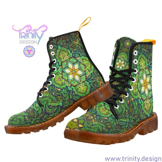 SACRED FLOWER GREEN Combat Boots Women