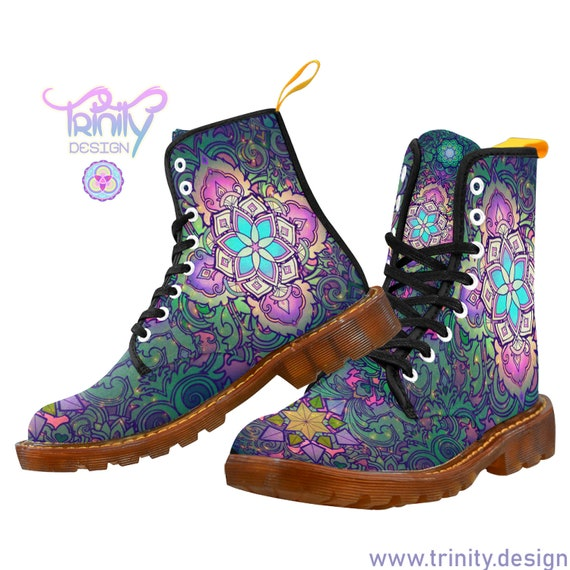 SACRED FLOWER FOREST Combat Boots Women