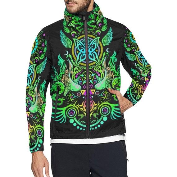 Jacket Hippie Burning Geometry Ravewear Clothing Futuristic Clothing Windbreaker Clothes Sacred Men Festival Music clothing Man Rave Clothes dqwcSEOv