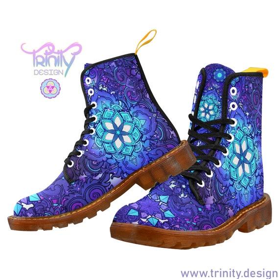 SACRED FLOWER BLUE Combat Boots Women