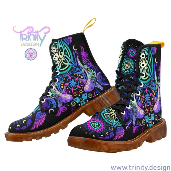 SACRED BUTTERFLY PURPLE Combat Boots Women