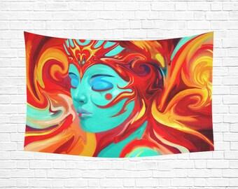 SHIVA Woven Wall Hanging Mandala Tapestry Mandala Wall Art Wall Tapestry Psychedelic Tapestry Fabric Wall Hanging Wall Quilt