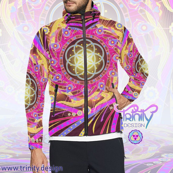 Men Ravewear Windbreaker Clothes Clothing clothing Sacred Clothing Futuristic Geometry Hippie Burning Jacket Festival Music Man Clothes Rave q5rcw5g0