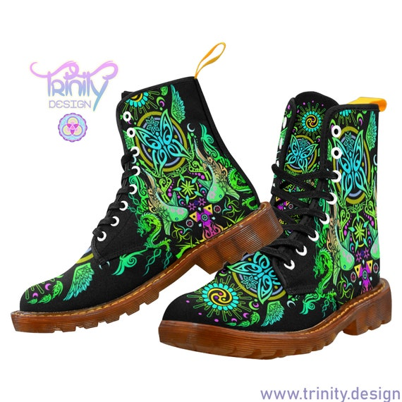 SACRED BUTTERFLY GREEN Combat Boots Women
