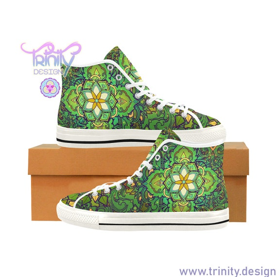 SACRED FLOWER GREEN High Top Sneakers Men