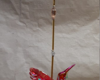 Gold Themed Crystal Hummingbird Sun Catcher in 2 Different Colors