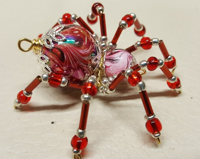 Small Steampunk Beaded Rainbow Spider
