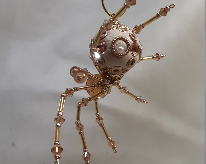Steampunk/Christmas Dew Drop Ceramic Golden White Snow Spider