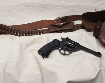 British 1887 Webley Non-Firing Revolver Replica with Leather Holster and Shoulder Strap