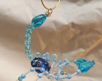 Steampunk Beaded Crystalline Light Blue Scorpion