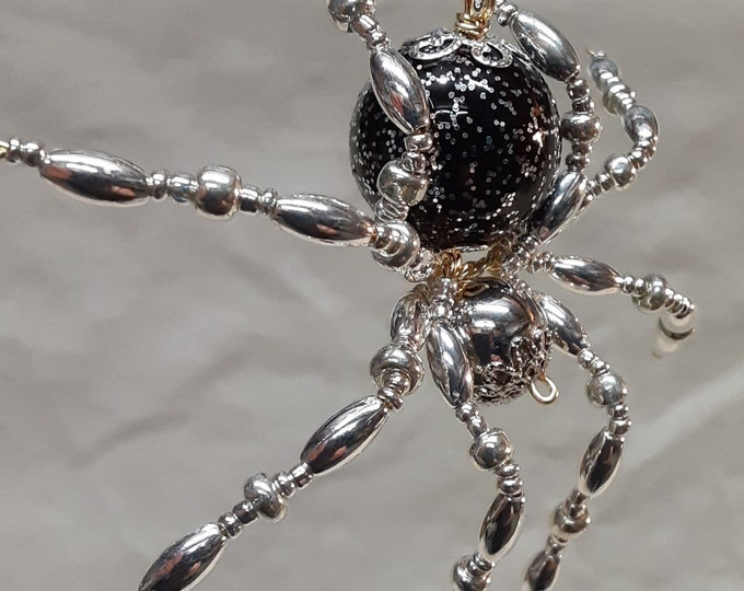 Christmas Silver And Black Speckled Beaded Spider