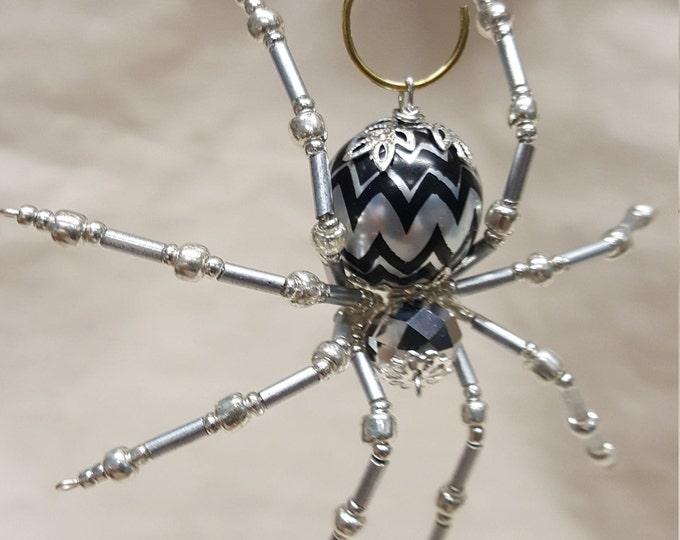 Steampunk/Christmas Crystalline Black/Silver Ice Spider